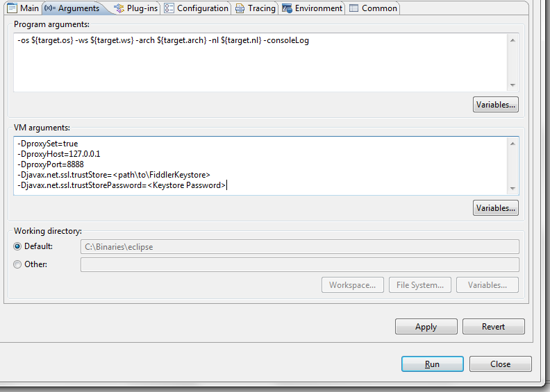 Eclipse Run Configuration with VM args