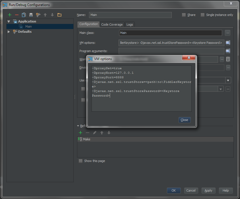 IntelliJ Run Configuration with VM args